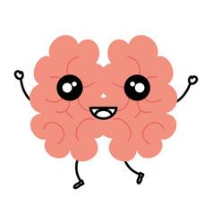Human brain kawaii character vector