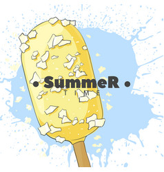 Ice cream in white glaze on a stick vector