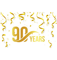isolated golden color number 90 with word years vector image