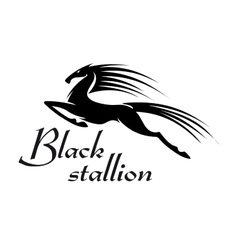 Jumping horse black silhouette for mascot design vector