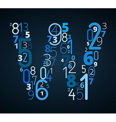 Letter W font from numbers vector image
