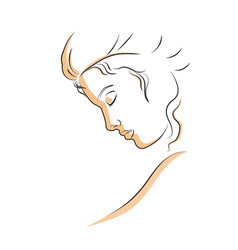 linear profile of a beautiful woman vector image