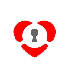 Locked heart love symbol and keyhole sign vector