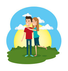lovers couple in the camp scene vector image
