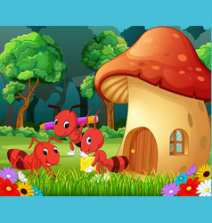 many ants and a mushroom house in forest vector image