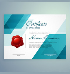 modern abstract blue certificate design template vector image