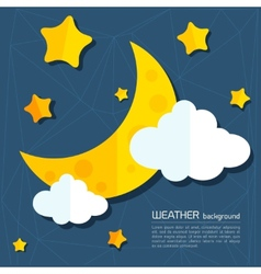 Modern weather background with moon and clouds vector image