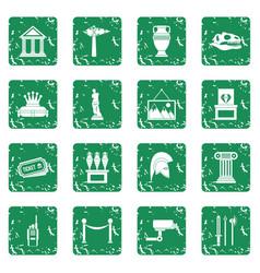 Museum icons set grunge vector