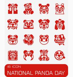 National panda day icon set vector