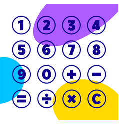 Numbers and mathematical symbols icons vector