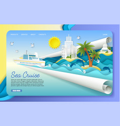 Paper cut sea cruise landing page website vector