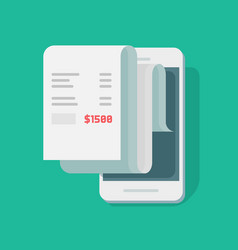 paper receipt payment on mobile phone financial vector image