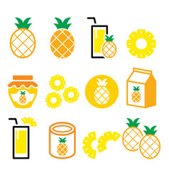 pineapple fruit pineapple slices juice icons vector image