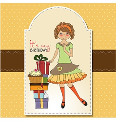 Pretty young girl with gift vector