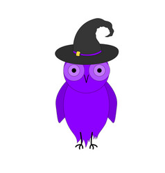 purple owl in witch hat on white background vector image