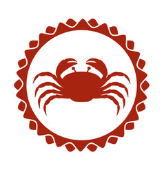 Red stamp border with silhouette crayfish vector