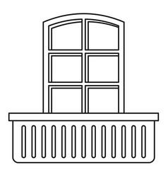 retro window and balcony icon outline style vector image