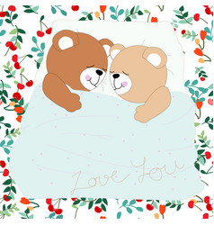 Seamless adorable cute pretty cherry and teddy vector
