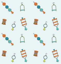 Seamless bright pattern for pet store bird toys vector