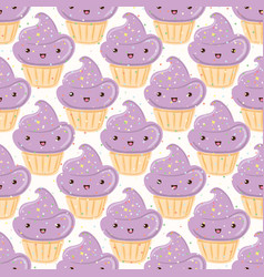 Seamless pattern with cupcakes isolated on white vector