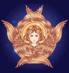 seraph six winged angel isolated hand drawn vector image