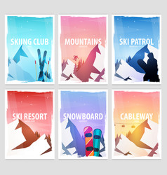 set banners of winter sport ski and snowboard vector image