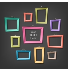 Set cartoon picture frames vector