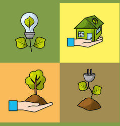 Set ecological conservation with environment vector
