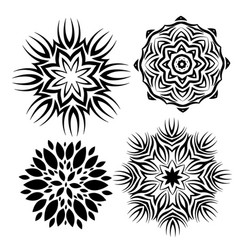 set elements for design stylized flowers vector image