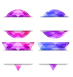 set of banners from circles and triangles with a vector image