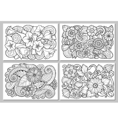Set of floral card Hand drawn artwork with vector