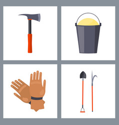 set of isolated fire-related items vector image