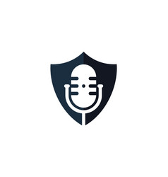 shield podcast logo icon design vector image