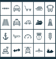 shipping icons set with ship hook helicopter vector image