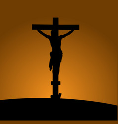 Silhouette of the crucifixion with jesus christ vector