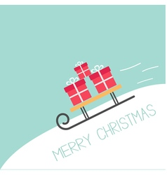 Sleigh with gift boxes rolling downhill Blue vector image