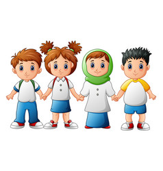 Smiling children holding hands together vector