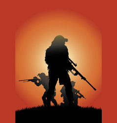 sniper group on the background of the setting sun vector image