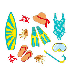 snorkeling and surfing elements vector image