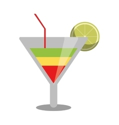 Soft drink cocktail lemon and straw vector