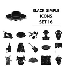 spain country set icons in black style big vector image