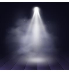 Spotlight disco illuminated wooden scene vector