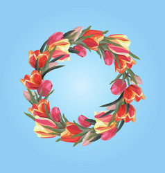 spring wreath of tulips on a blue background vector image