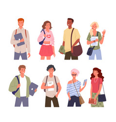 Student young multinational people diversity vector