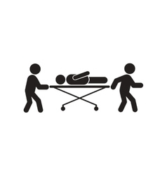 Stylish black and white icon patient on a gurney vector