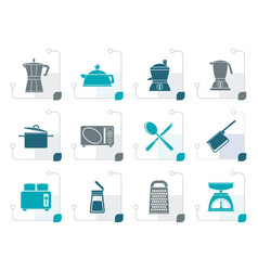 Stylized kitchen and household equipment icon vector