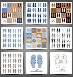 Summer colorful flip flops set vector image
