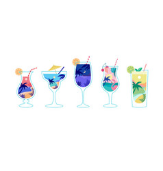 summer time fun concept design with cocktails vector image