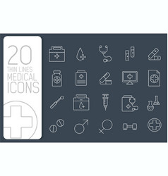 thin line medical set icons concept vector image