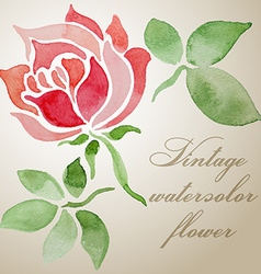 Vintage watercolor floral frame vector